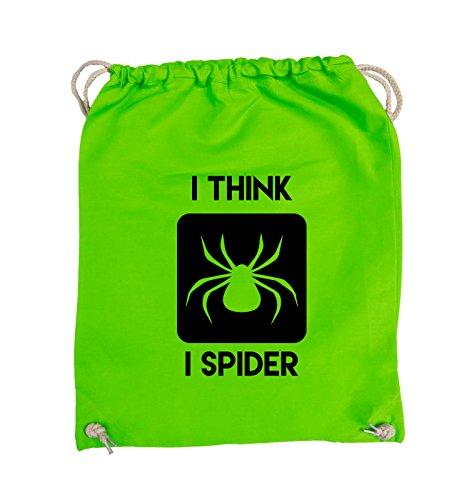 Comedy Bags - I THINK I SPIDER - Turnbeutel - 37x46cm - Farbe: Schwarz / Silber Hellgrün / Schwarz