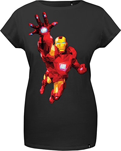 GOZOO The Avengers T-shirt Donna Iron Man - Polygon Edition 100% Cotone Nero XL
