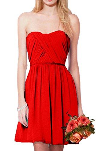 Victory Bridal Einfach Chiffon Sommer Chiffon brautjungfernkleider Abendkleider Partykleider Mini A-linie Kurz Rot