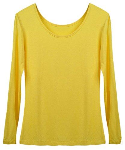 Smile YKK One Size Runde Kragen Frauen Lange Ärmel Shirt Oberteil aus Modal  Gelb