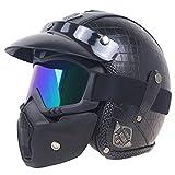 Qazwsx Motorradhelm Reiten Schutzhelm Retro Harley Helm Leder Wrap Mit Maske Motorradhelme Für Männer Ms,D,L