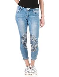 La Modeuse - Jeans orné d'une tête de mort en strass sur les genoux