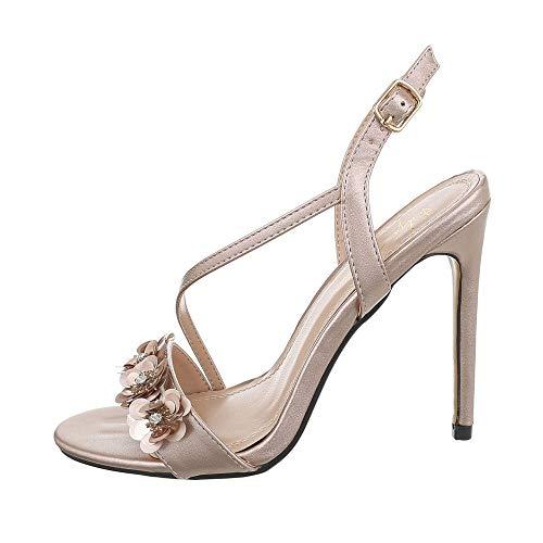 Ital-Design Damenschuhe Sandalen & Sandaletten High Heel Sandaletten Synthetik Beige Gold Gr. 36 Gold High Heel Sandaletten