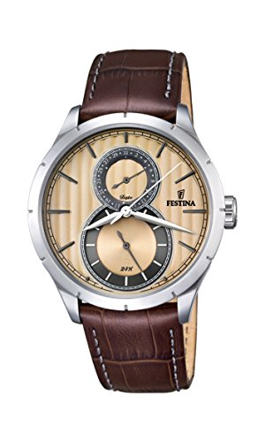 Festina RETRO Men's Quartz Watch with Beige Dial Analogue Display and Brown Leather Strap F16892/4