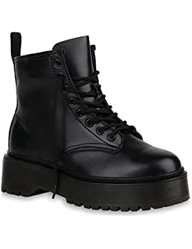 Stiefelparadies Damen Stiefeletten Plateau Boots Profilsohle Flandell