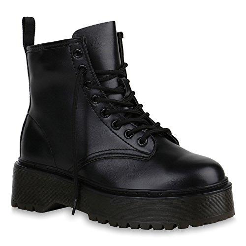 Damen Schuhe Stiefeletten Plateau Boots Profilsohle Trendy 152084 Schwarz Brooklyn 40 Flandell