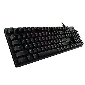 Logitech G512 Mechanische Gaming-Tastatur, RGB-Beleuchtung, Clicky Switches, Programmierbare F-Tasten, USB-Port, Zusätzliche USB-Durchschleife, Aluminium-Legierung, Deutsches QWERTZ-Layout – Schwarz
