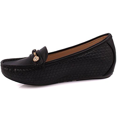 Senhoras Onça Sonhar Sapatos Baixos Confortável Deslizamento-ons Elegantes Deslizador Mocassins Bombas De Tamanho 3-8 - Mt81732-d Preto