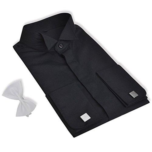 HUBER Umschlag Manschetten Hemd schwarz HU-0012 bequeme Passform S bis 6XL 6843539486