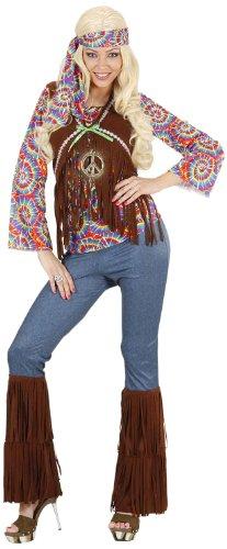 Widmann 7543S - Erwachsenenkostüm Psychedelic Hippie Frau, Shirt mit Weste, Hose, Stirnband und Kette, Größe (Für 60er Jahre Kostüme Frauen)