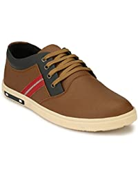 Jerkey Stylish Men's Casual Canvas Shoes In Black And Tan Colours, Shoes For Mens Stylish, Casual Shoes For Men...
