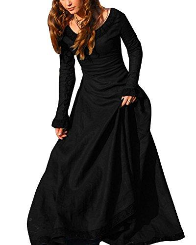 stüm Maxikleider Cosplay Kostüm Vintage Übergröße Langarm Kleid Schwarz 3XL (Mittelalterliche Kleidung Renaissance Kostüme)