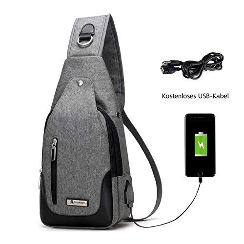 Neusky Brusttasche Schultertasche Brusttaschen Daypack Militär Sporttasche für Damen und Herren (Grau)