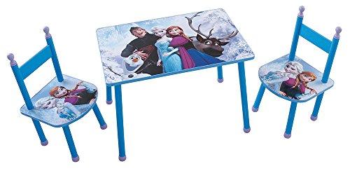 FUN HOUSE Disney Reine des NEIGES Ensemble Une Table avec 2 CHAISES pour Enfant MDF, Bleu, 60x40x44 cm