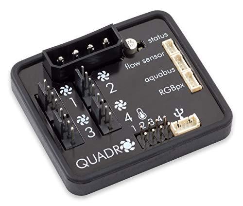 Aqua Computer Quadro Lüftersteuerung für PWM-Lüfter mit Anschluss für Ambient/Hintergrundbeleuchtung -