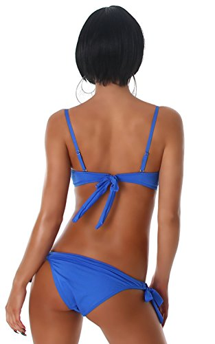 Esther Queen Damen Push-Up Bandeau-Träger-Bikini mit Strass verziert Blau