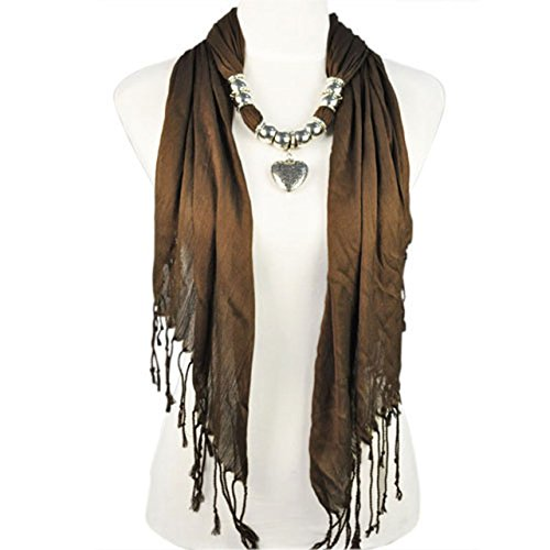 New Product Women Scarf necklace with Silver Jewelry Heart bead charm pendant scarves fashion scarf for women