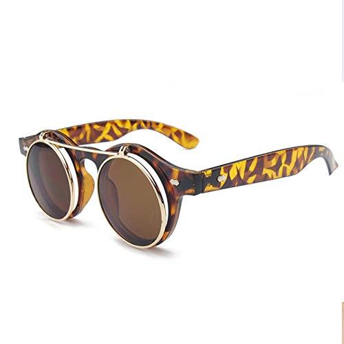 CYCY Retro Flip Doppelschicht Sonnenbrille runde Linse Sonnenbrille Männer und Frauen runde Brille Sonnenbrille großen Rahmen Flut FG-1234 schwarzer Rahmen Grauer Film, Bohne Blumenkasten Tee