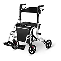 Uniprodo Folding Rollator Wheelchair 2-in-1 Hybrid Rolling Walker With Seat Mobility Walking Aid Carry Bag Silver 136kg UNI_ROLL_03 2in1 (Aluminium Frame, Brakes, Backrest, 4 Wheels, 85.5-98cm Height)