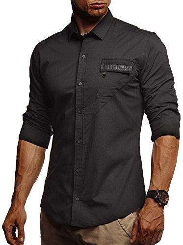 LEIF NELSON Herren Hemd Slim Fit Langarm Freizeithemd für Anzug Business Hochzeit Freizeit Party T-Shirt Kurzarm LN3395;