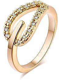 YAZILIND las mujeres de la boda anillos de compromiso 18K oro plateado banda corazon princesa corte promesa aniversario joyeria nupcial infinito amor por su tamano 8