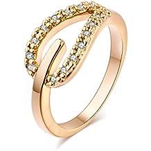 YAZILIND las mujeres de la boda anillos de compromiso 18K oro plateado banda corazón princesa corte promesa aniversario joyería nupcial infinito amor por su tamaño 16,5
