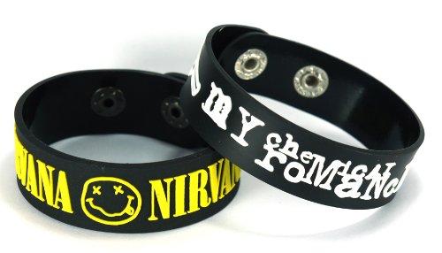 Nirvana My Chemical Romance 2pcs nuevo. Pulsera Wrist Band 2x 100A52
