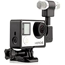 GoPro profesional micrófono estéreo externo de grabación de audio con adaptador + soporte marco vivienda para GoPro Hero 3 + 4 Cámara