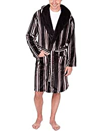 Pierre Roche Mens Luxury Supersoft Hooded Bath Robe Striped Checked Dressing Gown