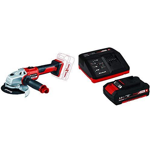 Einhell AXXIO - Amoladora Angular Inalámbrica + 4512040 Kit con Cargador batería de Repuesto, tiempo...