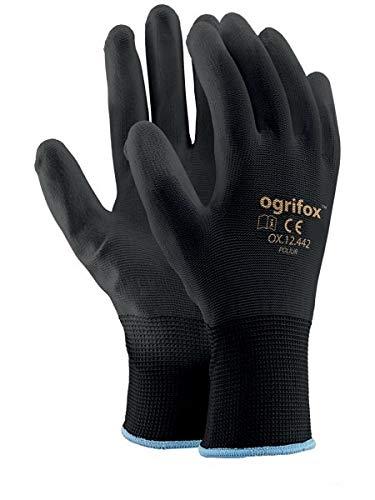 Arbeitshandschuhe, schwarz, aus Nylon, PU-Bezug, 12,24 Paar Für Gartenarbeiten, die Baustelle und Mechaniker von AJS workwear LTD.