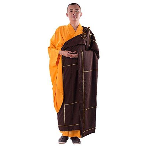 ZooBoo Buddistische Mönchsrobe Kesa Soutane - Chinesische Traditionelle Religionen Buddhismus Taoismus Kostüme Chan Yi Kampfkunst Shaolin Kung Fu Langärmelige Robe kulturelle Uniformen für Männer Frauen (Kaffeebraun, 185 cm)