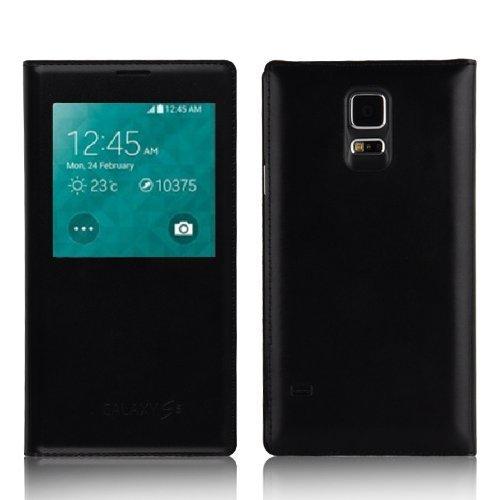 JAMMYLIZARD Samsung Galaxy S5 Smart View Lederhülle Schutzhülle Flip Case aus Leder Sichtfenster Ledertasche Handyhülle Cover mit S-View Funktion, Schwarz