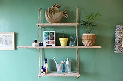 Reclaimed pine hand tied jute rope hanging shelves - Diamond Design
