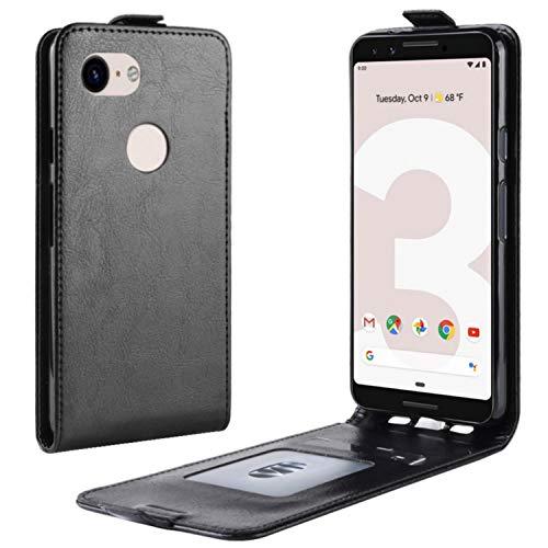 HualuBro Google Pixel 3a Hülle, Leder Brieftasche Etui LederHülle Tasche Schutzhülle HandyHülle [Magnetic Closure] Handytasche Leather Flip Case Cover für Google Pixel 3a 2019 (Schwarz)