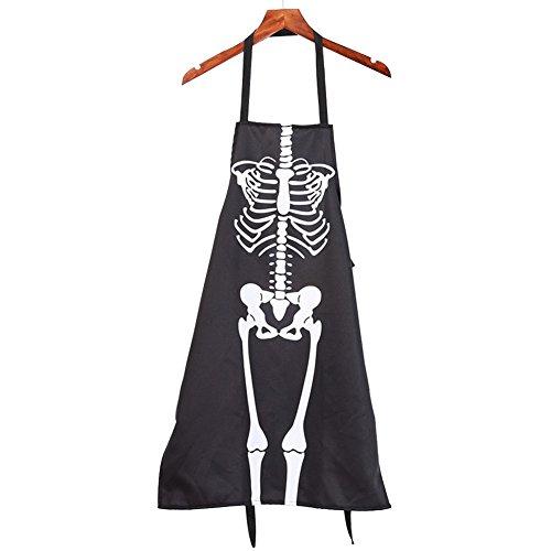 Totenkopf Skelett Spooky Schürze Halloween Küche Latzschürze Kochschürze tragbar für Küche, Backen, Grill, Camping, Partys, Picknicks, Garten Free Size ()