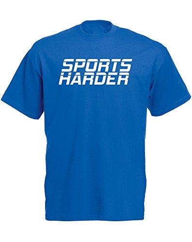 Brand88 - Brand88 - Sports Harder, Mann Gedruckt T-Shirt Königsblau/Weiß