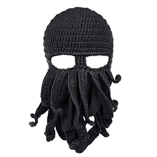 Petrunup Lustige Tintenfisch Tentakel Bart Balaclava Ski Maske Winter Knit Beanie Hut - Jungs Octopus Große Für Kostüm