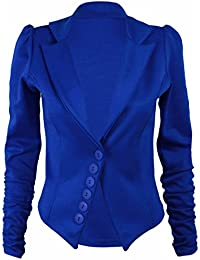 New Ladies Stretch Fitted Pointed Hem Button Blazer Womens Long Ruched Gathered Sleeve Plain Jacket Royal Blue Size 8