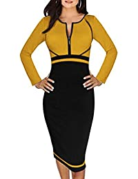 Minetom Vestidos Para Mujer Empalme Cuello Redondo Cremallera Cuello Ropa Fiesta Bodycon Vestido Cóctel