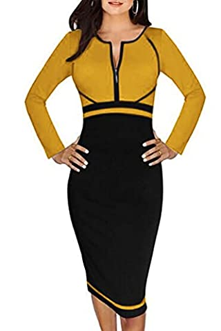 Minetom Women's Long Sleeve Colorblock Front Zipper Work Cocktail Party