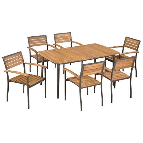 tidyard Conjunto de Mesa y 6 Sillas Conjunto de Comedor para Jardín Terraza Patio,Diseño de Rejilla,Sillas Apilables,Estilo Rústico,Madera Maciza Acacia y Acero