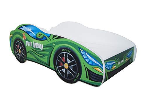 | Kinderbett Autobett Pkw Green Lightning | 160 x 80 cm | Lattenrost und Matratze | MDF beschichtet -