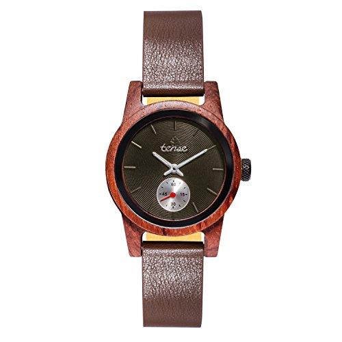 TENSE Holzuhr Damen Katalox - schwarzes Ziffernblatt Ø 35 mm Armbanduhr Hampton analog Quarz M4701R-B