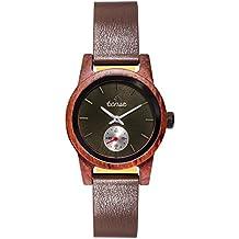 Premium en bois horloge Tense Womens Leather Hampton (fabriqué en Canada)–Bois de rose–Cadran Noir–Montre Femme m4701r de B