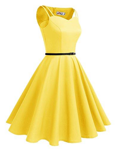 ALAGIRLS 1950er Vintage Rockabilly Einfarbig Party Kleid Retro Muster Cocktailkleid Gelb