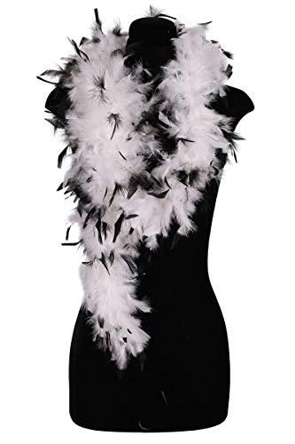 Thetru Federboa schwarz gespitzt | Farbe: weiß/schwarz, rosa/schwarz, rot/schwarz | Federboa zweifarbig für Karneval und Fasching ()