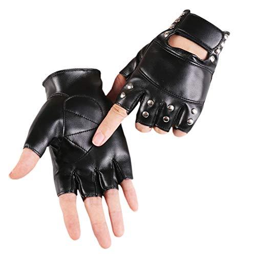 Kostüm Mainstream Nicht - MHGLOVES Nietenbesetzte Punk-Handschuhe, Unisex-Punk für Erwachsene, Nicht-Mainstream-Leder-Hip-Hop-Halbfingerhandschuhe, Kostüm-Persönlichkeit Fitnessstudio Fahren Fahrradhandschuhe (1 Paar)