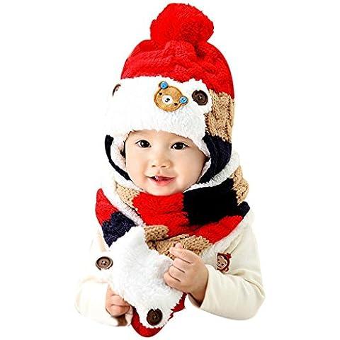 GillBerry Bebé linda calentar Dibujos animados Sombreros Bufanda Otoño Invierno