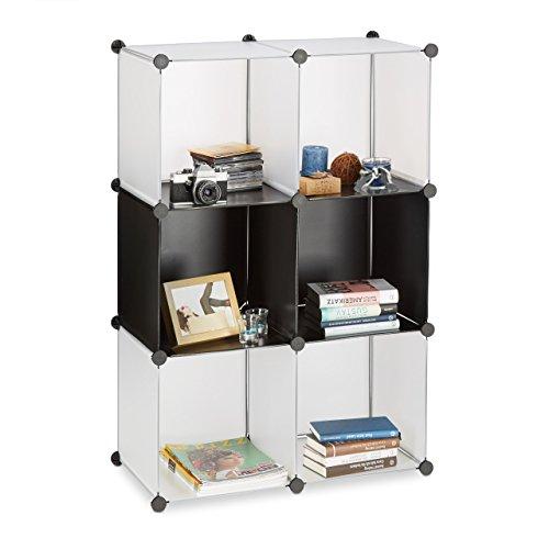 Relaxdays Regalsystem Kunststoff, offenes Regal, Raumtrenner Stecksystem, Standregal 6 Fächer, DIY, schwarz-transparent